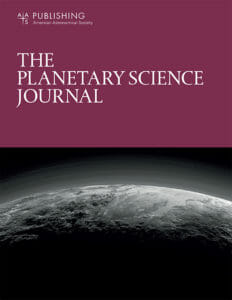 Sample cover of the new Planetary Science Journal.