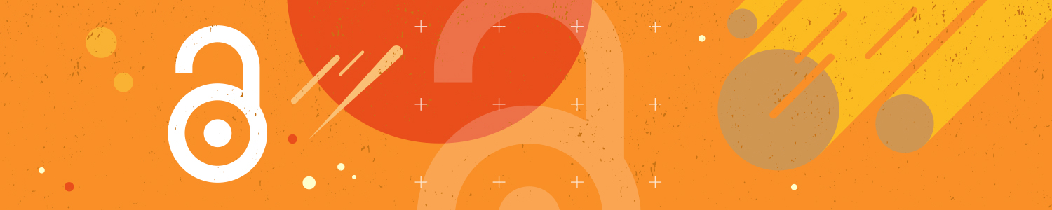 Orange banner featuring the open access logo of a stylized open lock